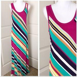 CALVIN KLEIN Multicolored Stripe Tank Maxi Dress